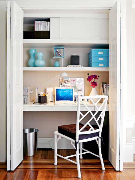 Image result for diy home office in closet